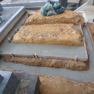 堺市南区でお墓工事 (外柵基礎工事)