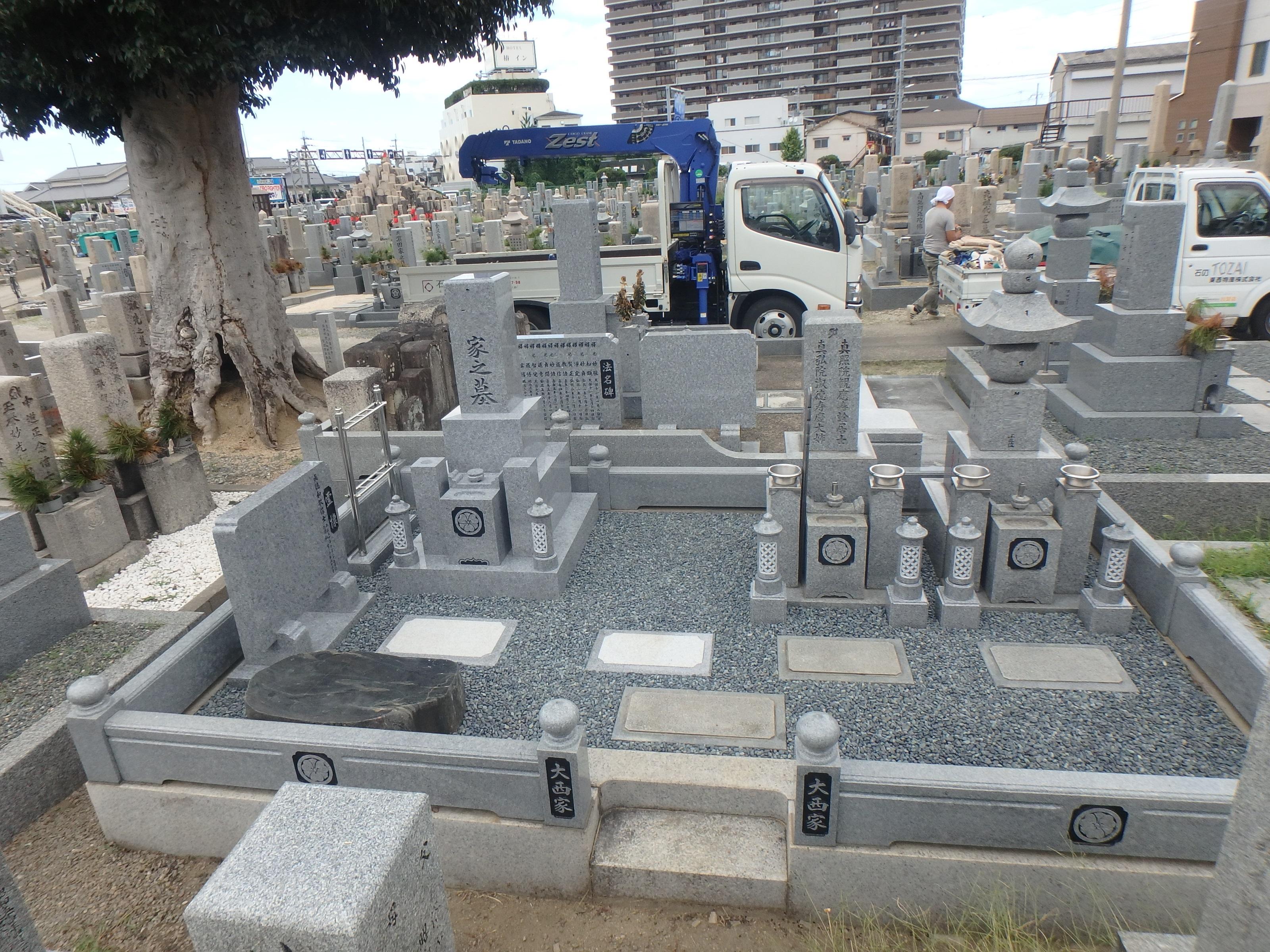 施工例4-22 堺市長曽根墓地にて、庵治石細目最高級石を使ってお墓建墓の詳細画像1