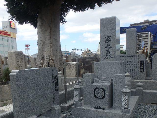 施工例4-22 堺市長曽根墓地にて、庵治石細目最高級石を使ってお墓建墓