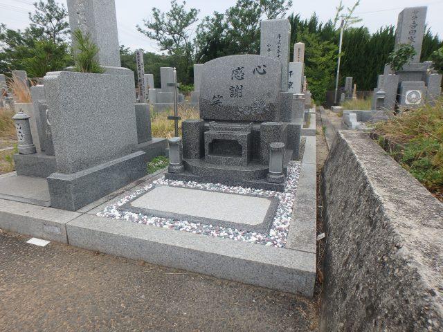 施工例洋型墓石3-43 泉大津市板原墓地 インド産石ロイアルブラウン